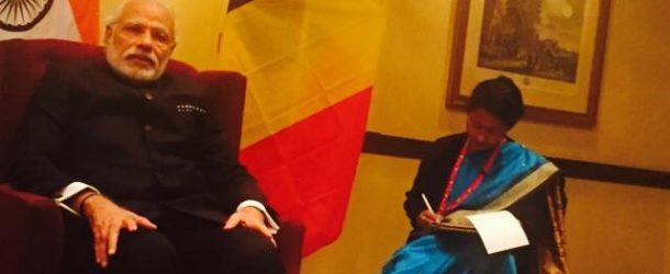 Y. Omarjee rencontre le Premier Ministre de l'Inde, N. Modi, à Bruxelles